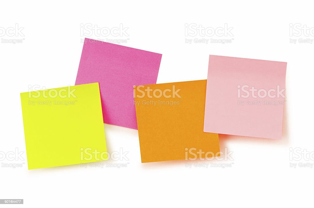 Reminder notes with paperclips isolated on the white royalty-free stock photo