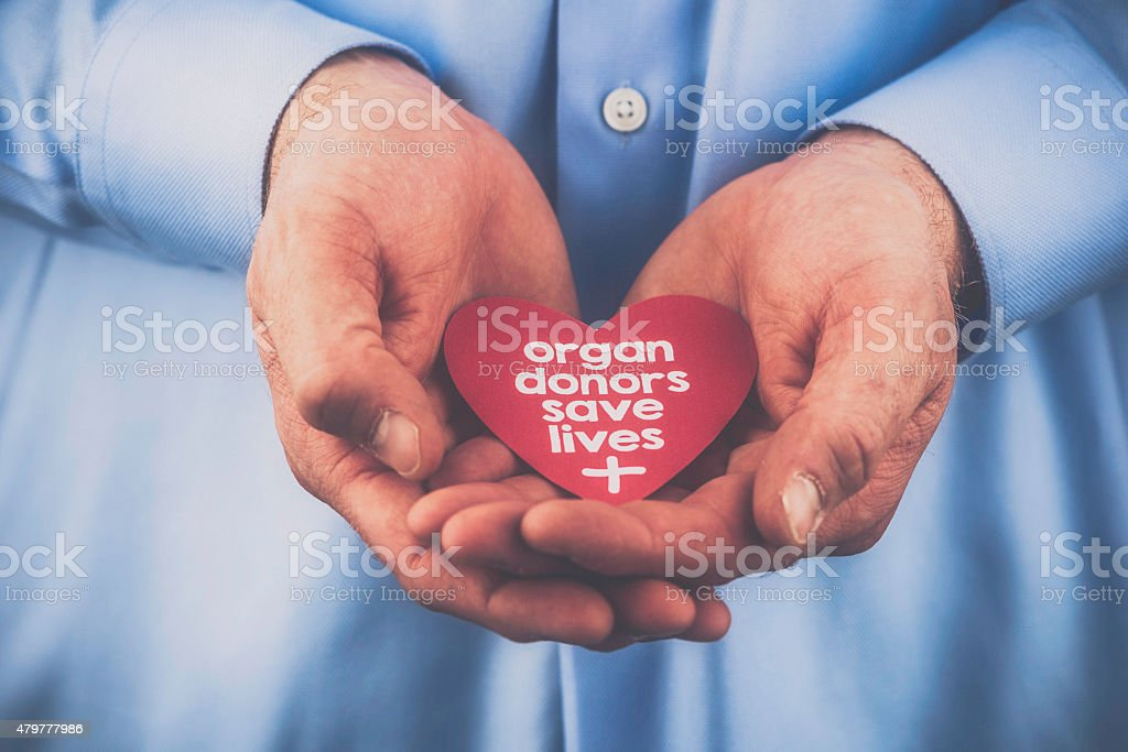 Reminder of importance of organ donation. Organ donors save lives. stock photo