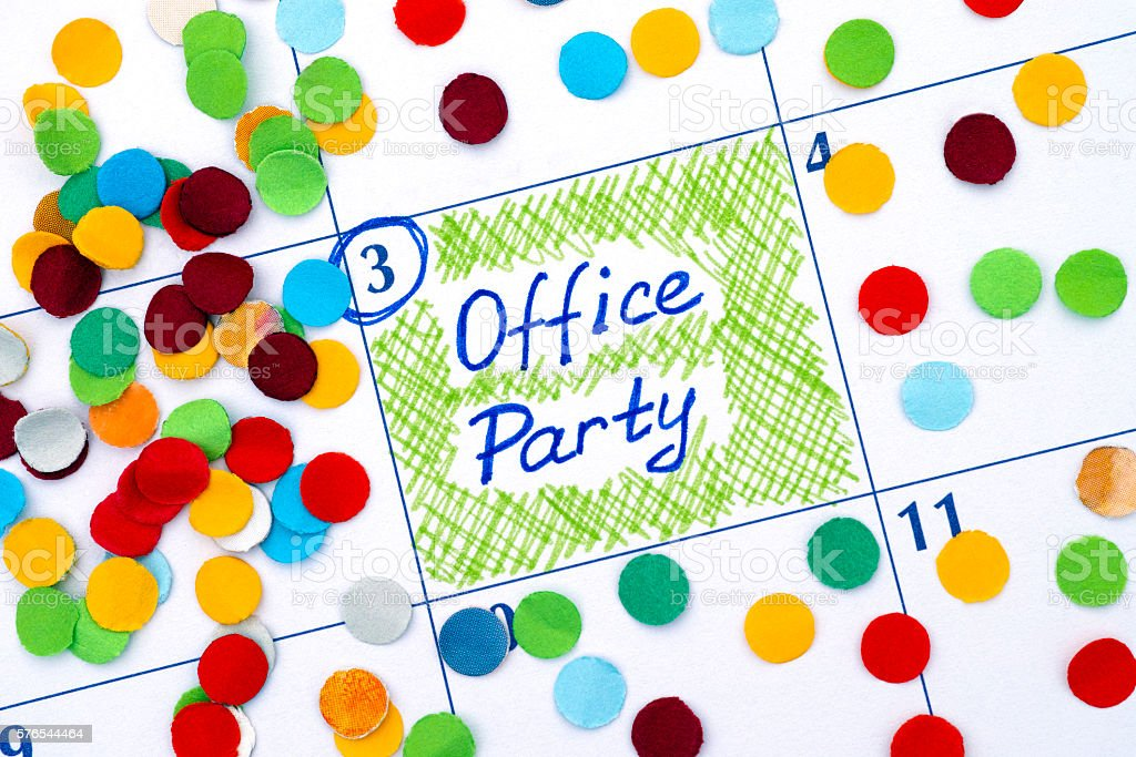 Reminder Office Party in calendar with confetti stock photo