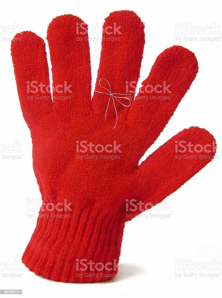 reminder string around glove finger royalty-free stock photo