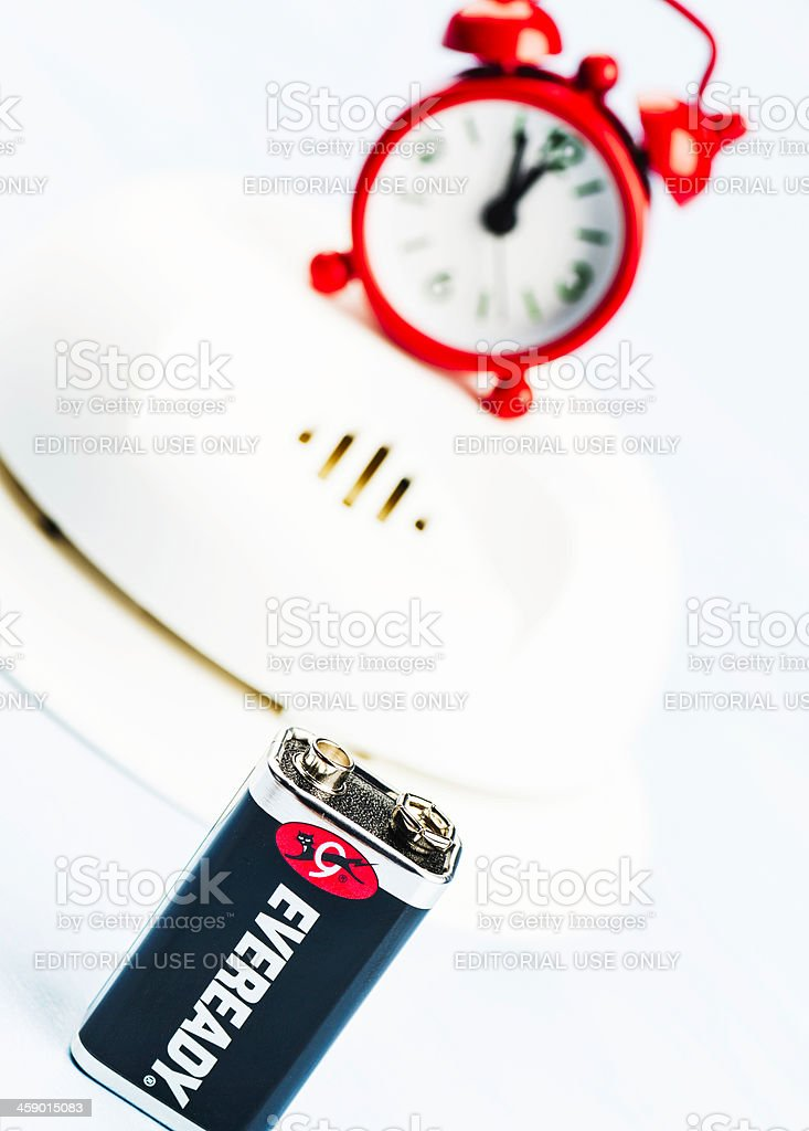 Reminder to Change Battery in Smoke Detector royalty-free stock photo