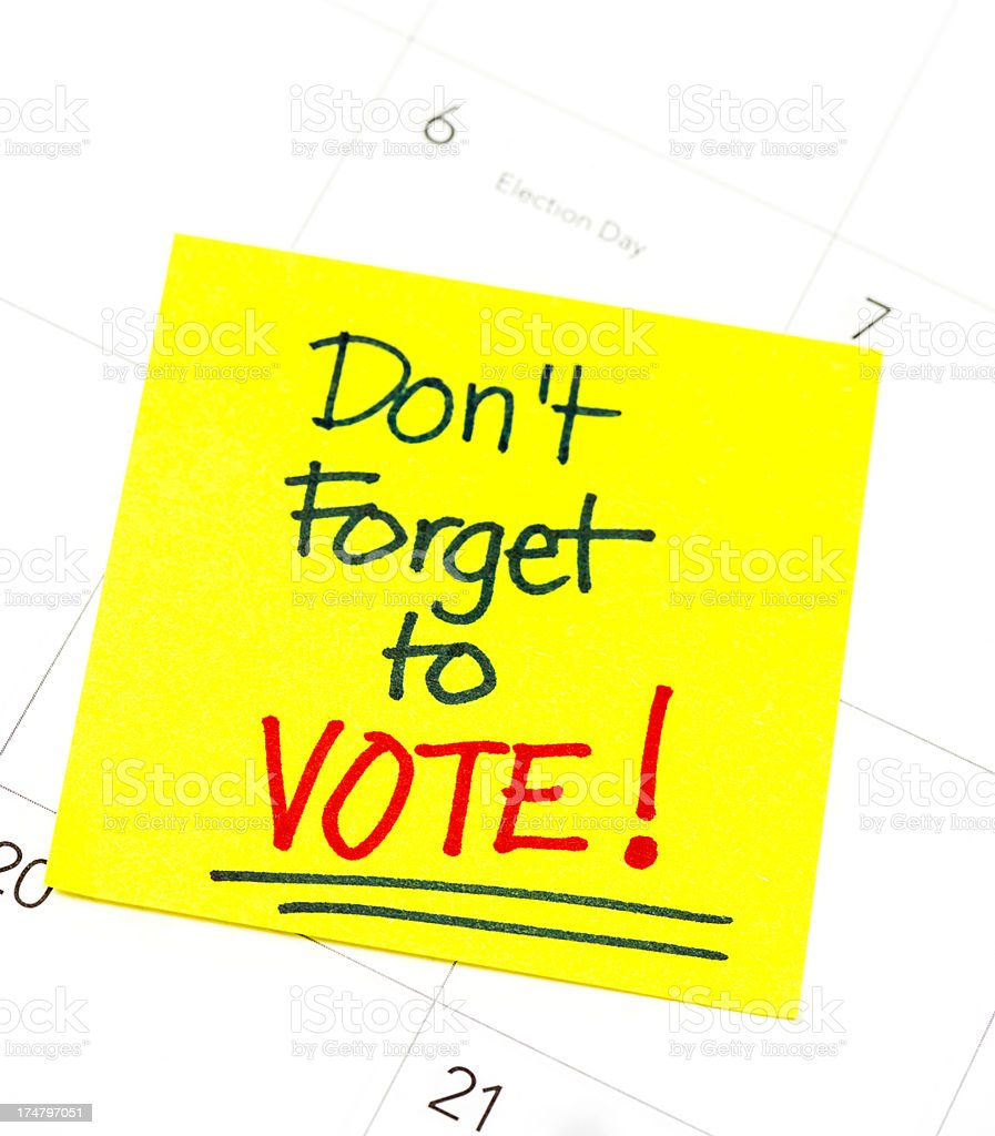 Reminder to Vote stock photo
