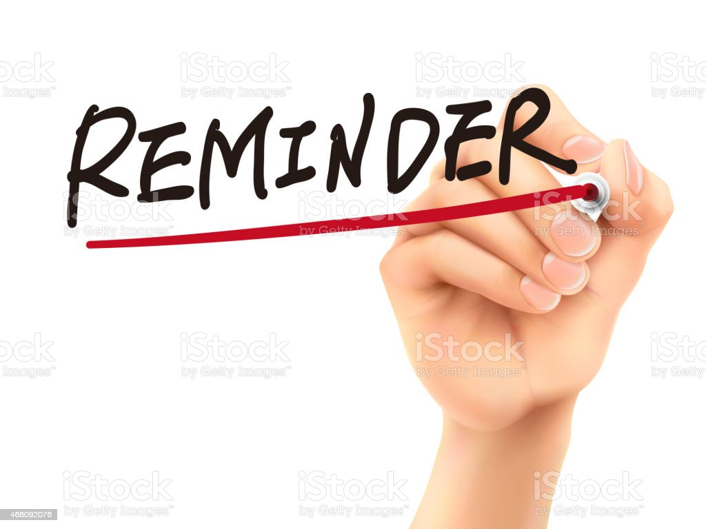 reminder word written by 3d hand stock photo
