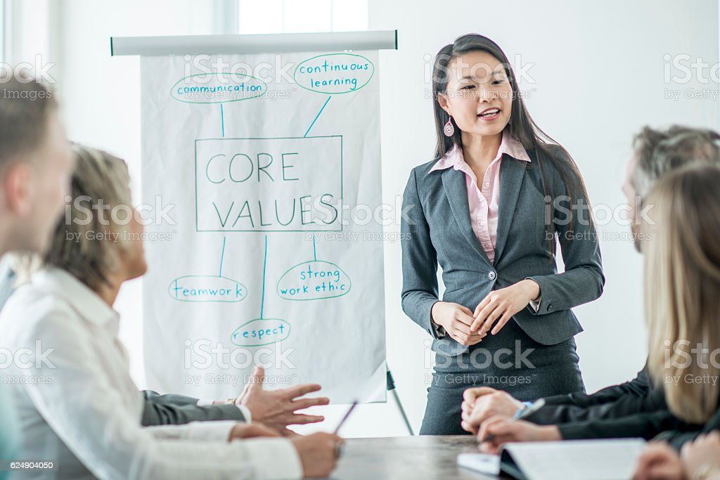 Reminding Employees of the Companies Core Values stock photo