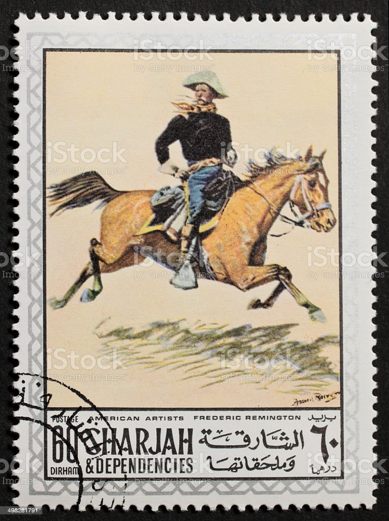Remington horseman postage stamp stock photo