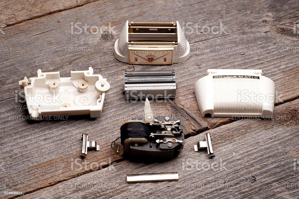 Remington Roll-a-matic Shaver Parts stock photo
