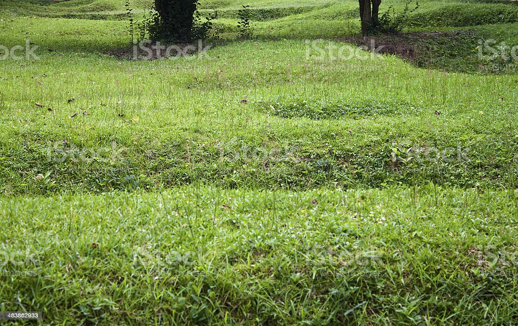Remnants of mass graves stock photo