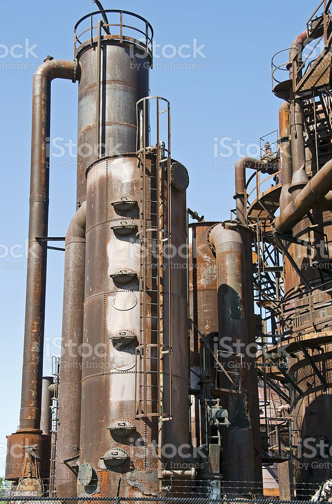 Remnants of old gasworks plant stock photo