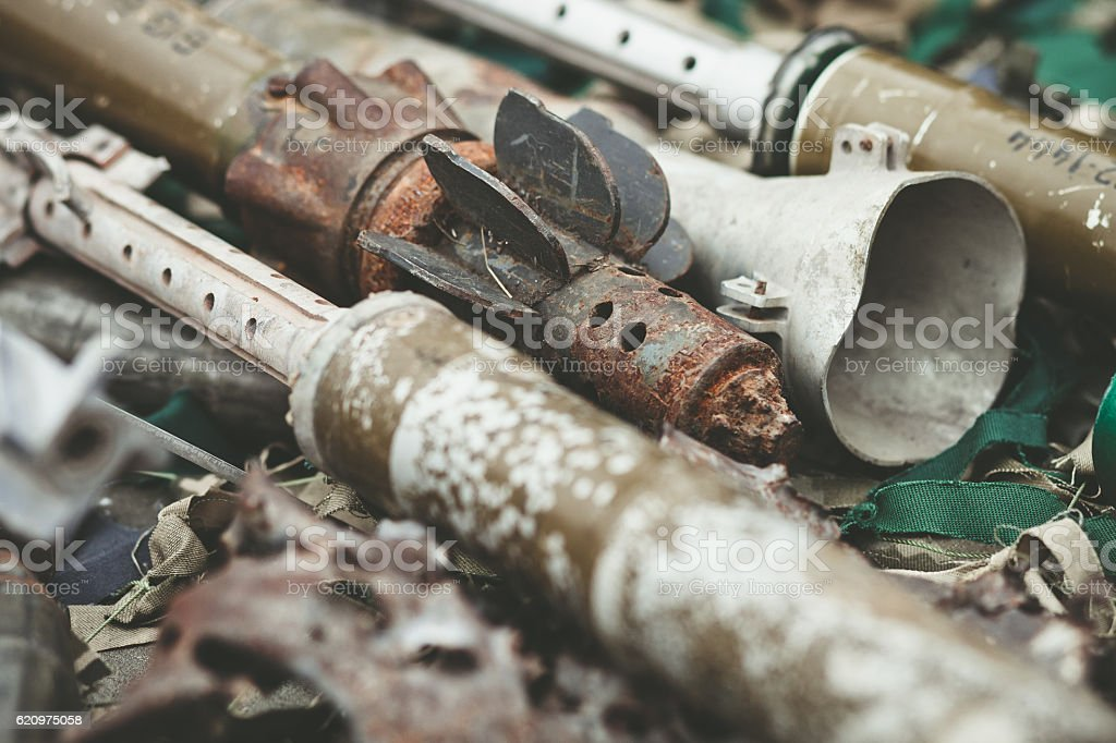 remnants of shells anti-tank rocket propelled grenade launcher stock photo