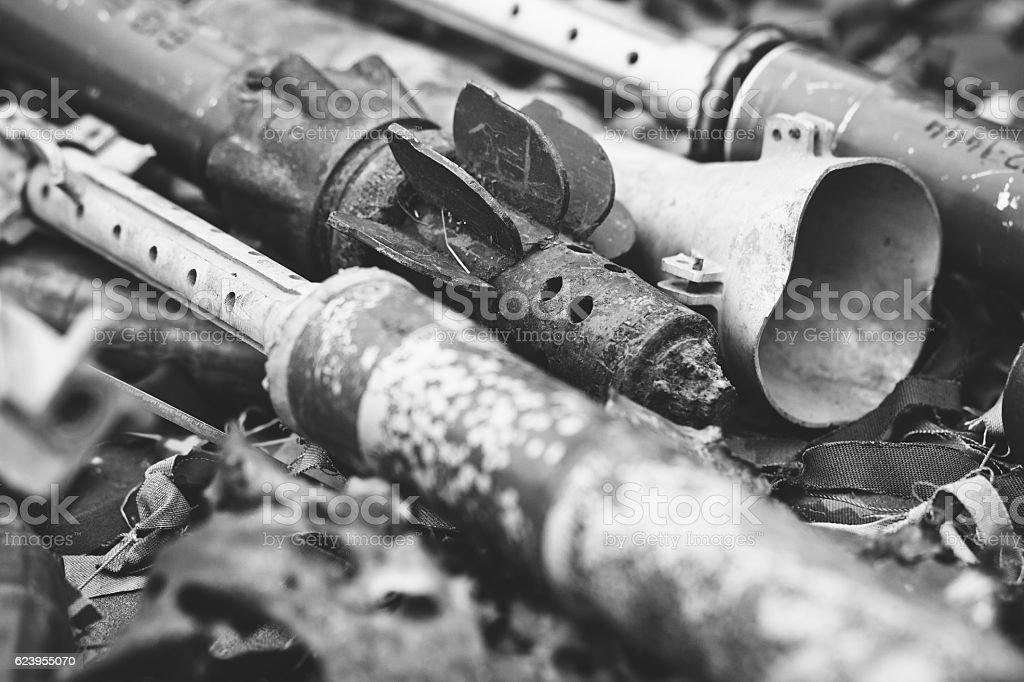 remnants of shells anti-tank rocket propelled grenade launcher stock photo