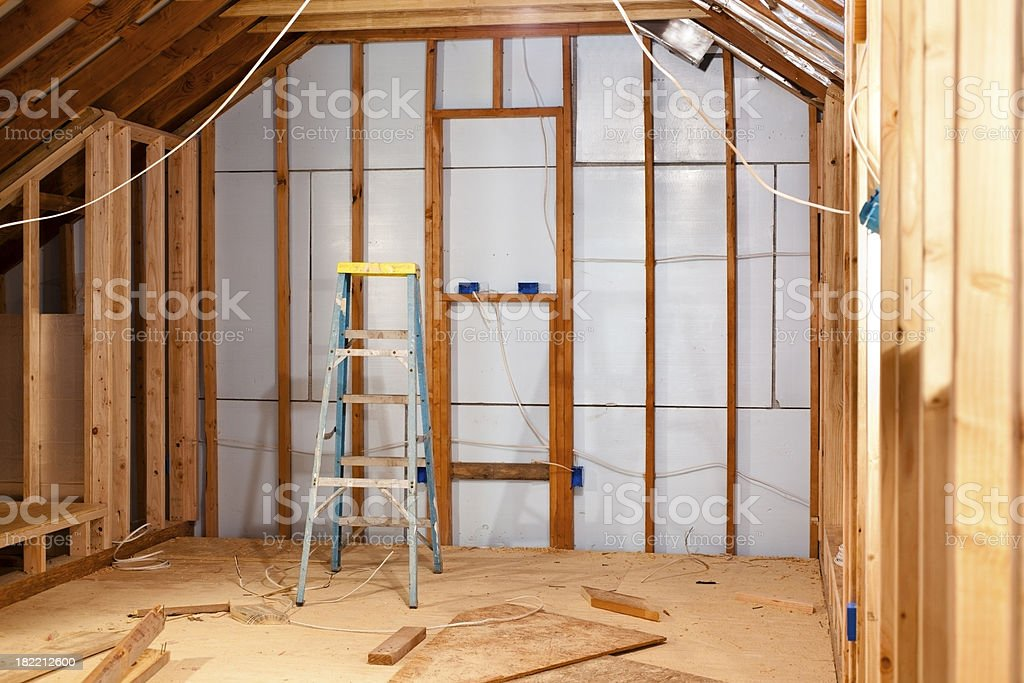 Remodel job room addition in attic. Home improvement, construction. royalty-free stock photo