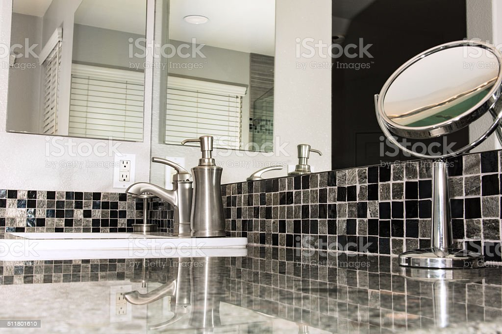 Remodeled Bathroom Counter Detail stock photo