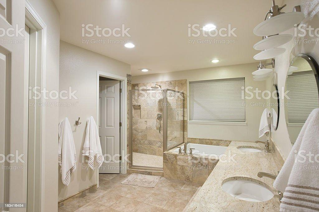 Remodeled Master Bathroom stock photo