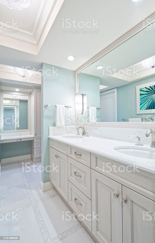 Remodeled Master Bathroom with Double Sink stock photo