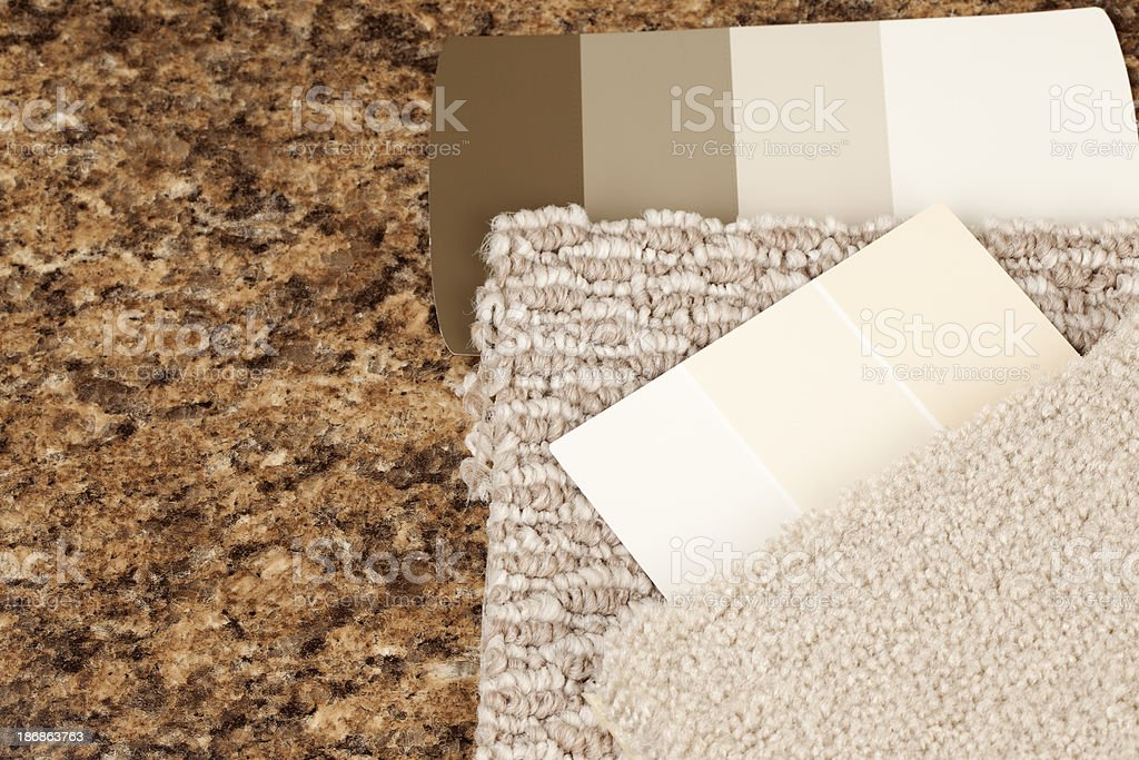 Remodeling: Carpet and Paint Samples royalty-free stock photo