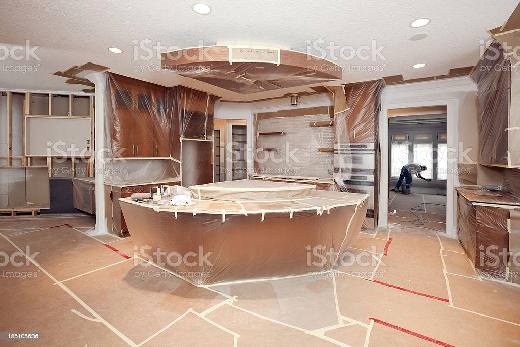 Remodeling Project Kitchen Masked with Plastic and Paper stock photo