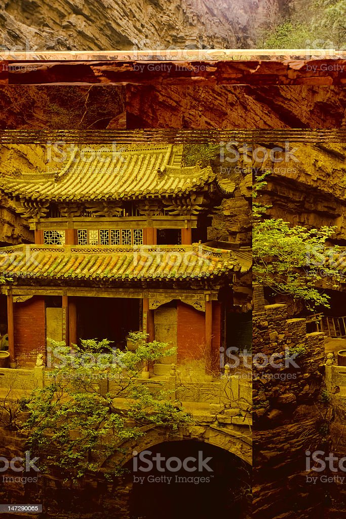 remote ancient temple in a deep valley, Hebei, China stock photo