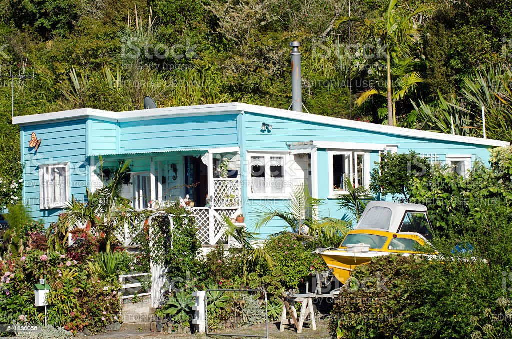 Remote batch holiday house in New Zealand stock photo