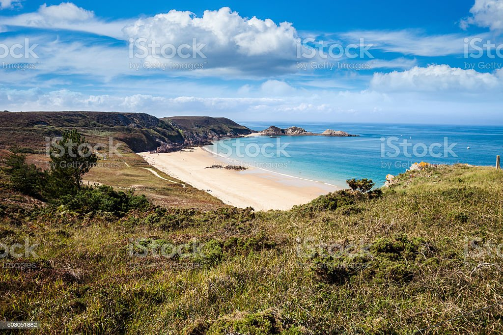 Remote beach on the Brittany coast in France stock photo