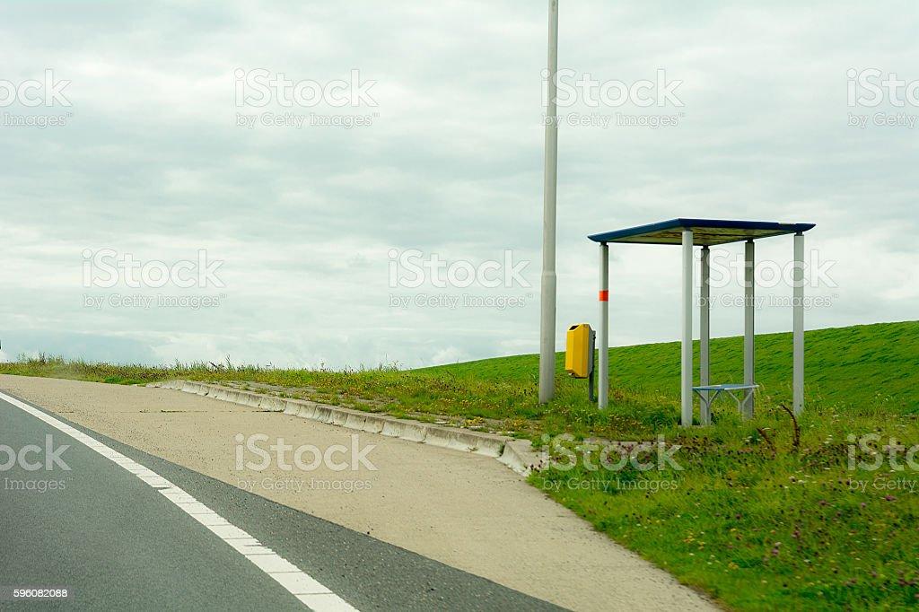 Remote Busstop Friesland stock photo