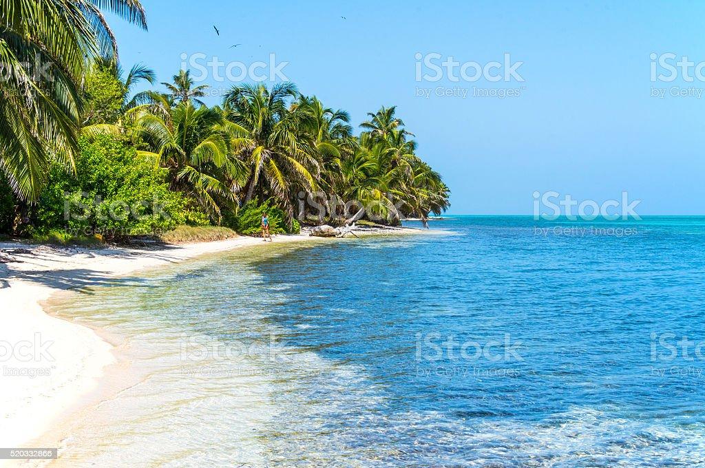 Remote Caribbean Atoll stock photo