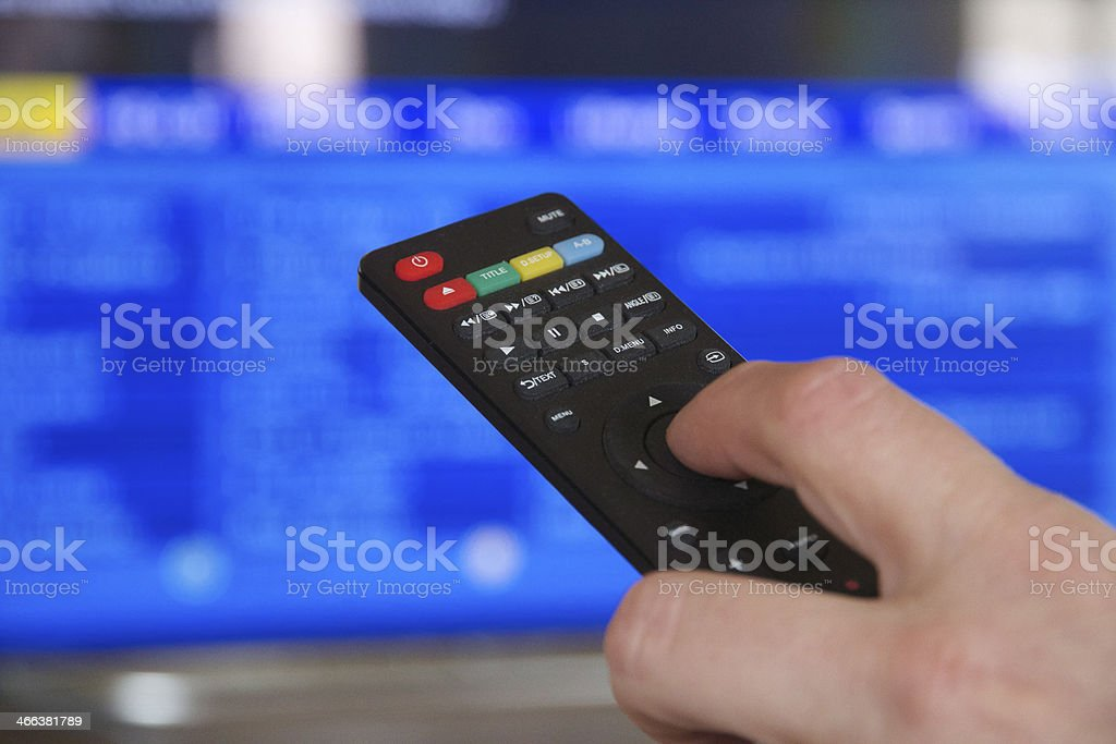 TV Remote Control and Hand stock photo