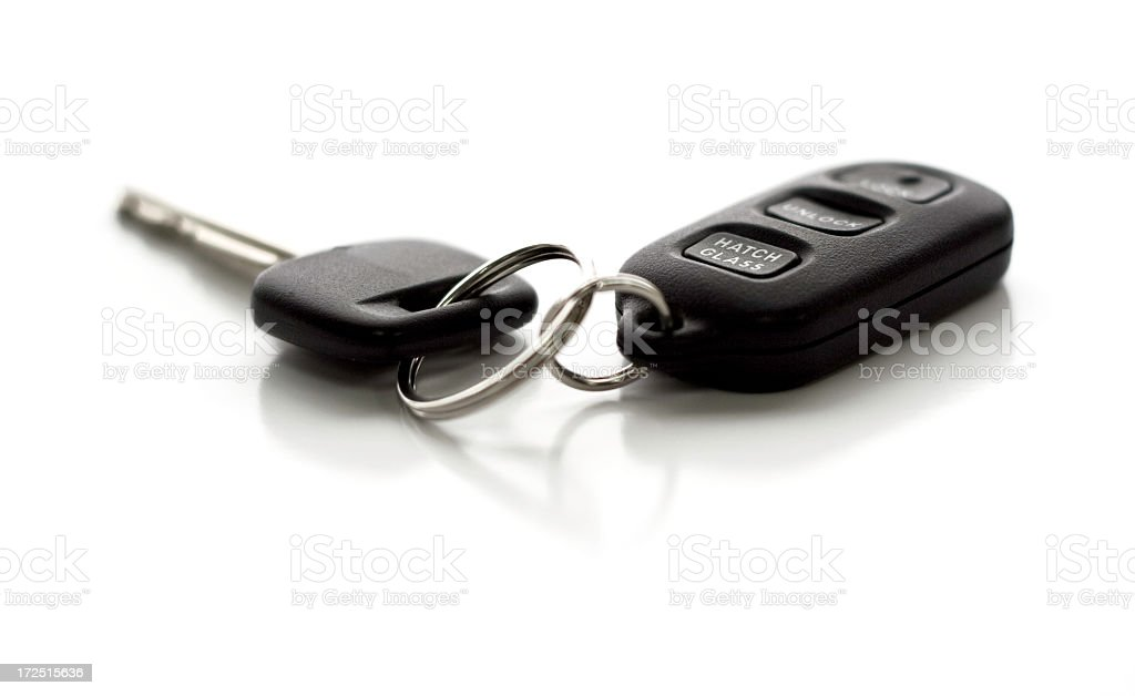Remote control entry and car key ring on white background stock photo