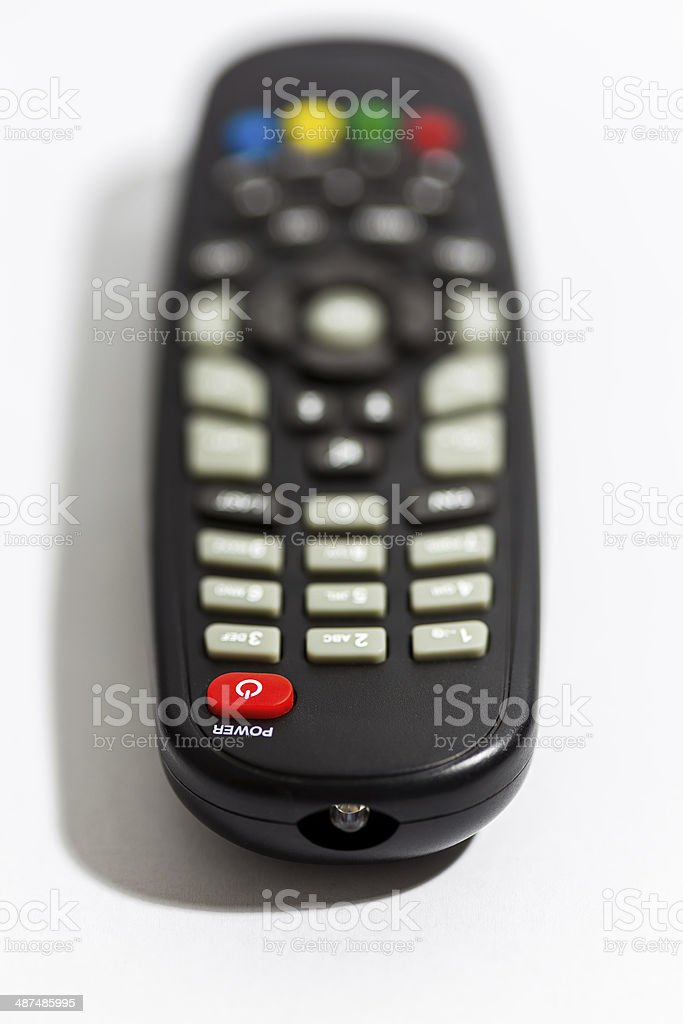 TV remote control focus at Power button royalty-free stock photo