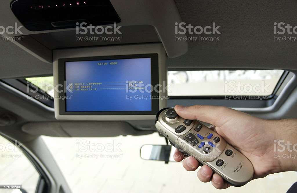 Remote control for car DVD stock photo