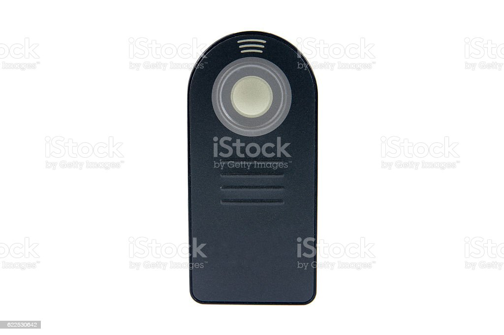 Remote control for DSLR camera isolated on white background stock photo