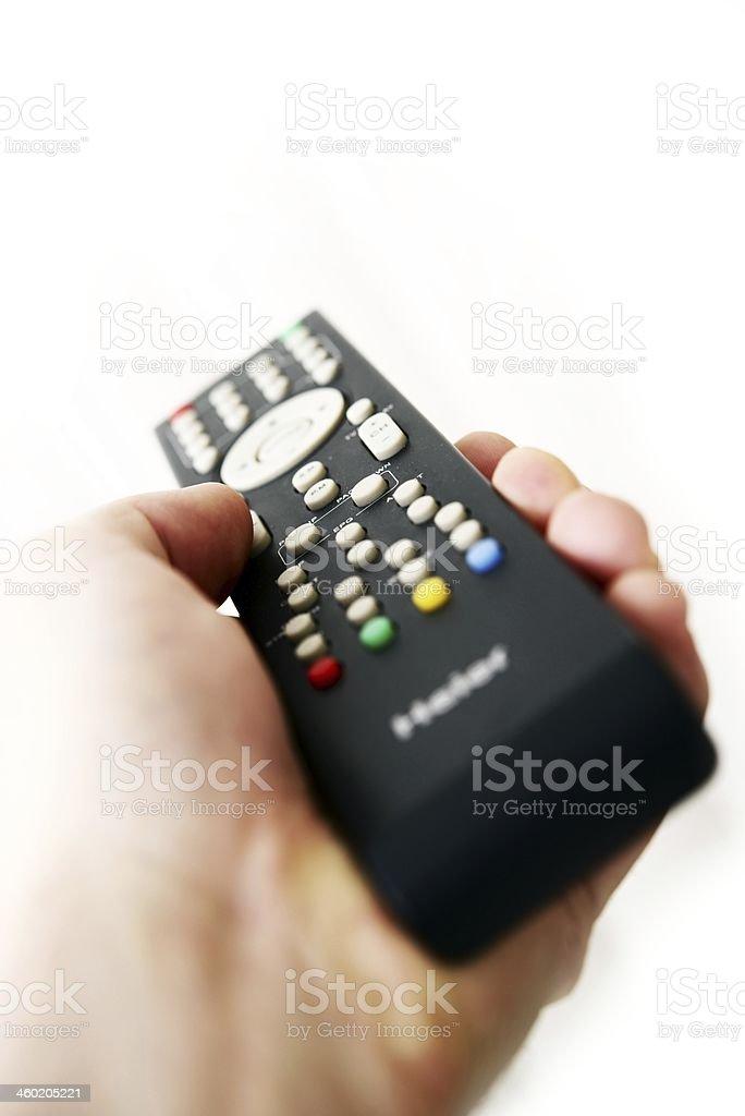 TV Remote Control in Hand stock photo