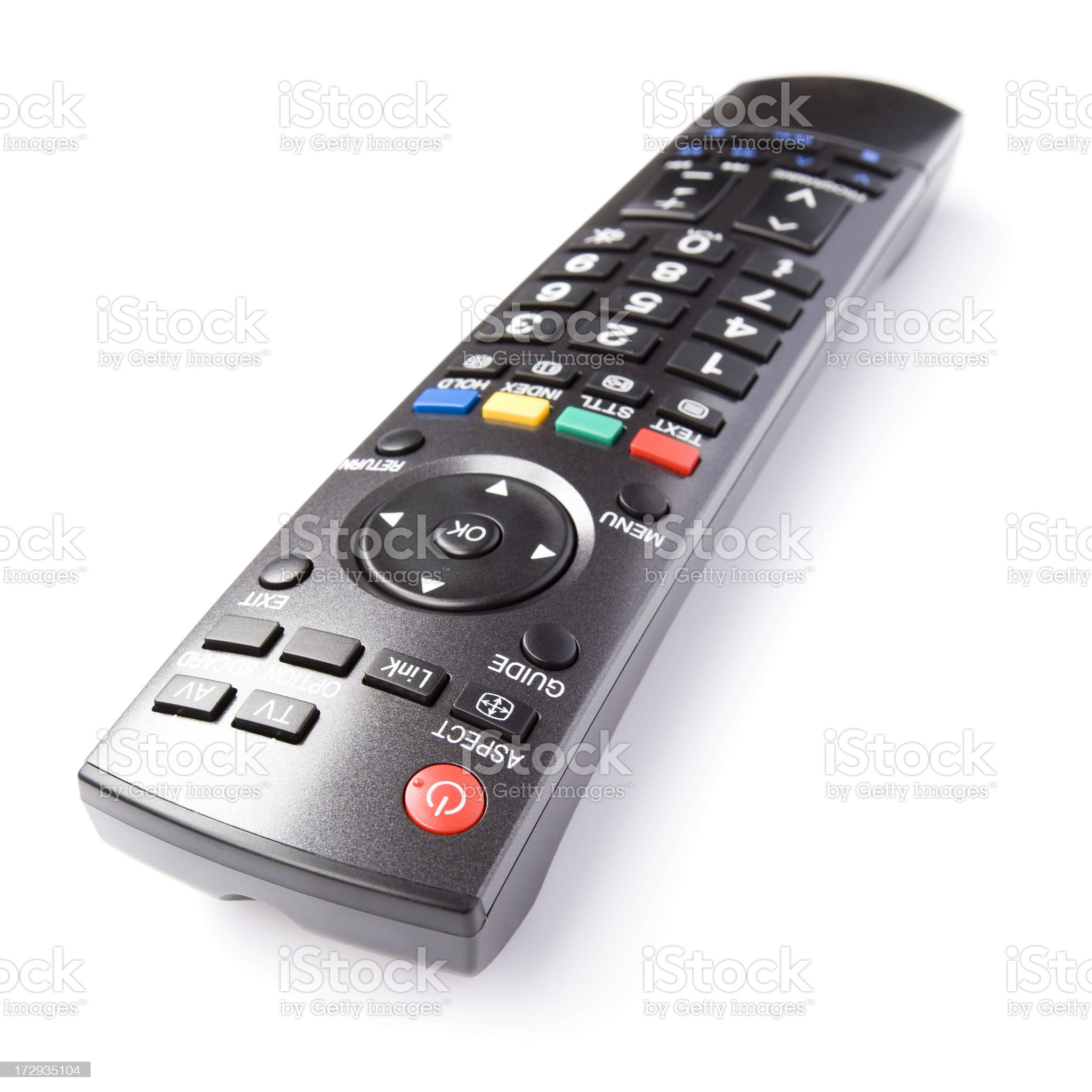 TV remote control, isolated on white background royalty-free stock photo