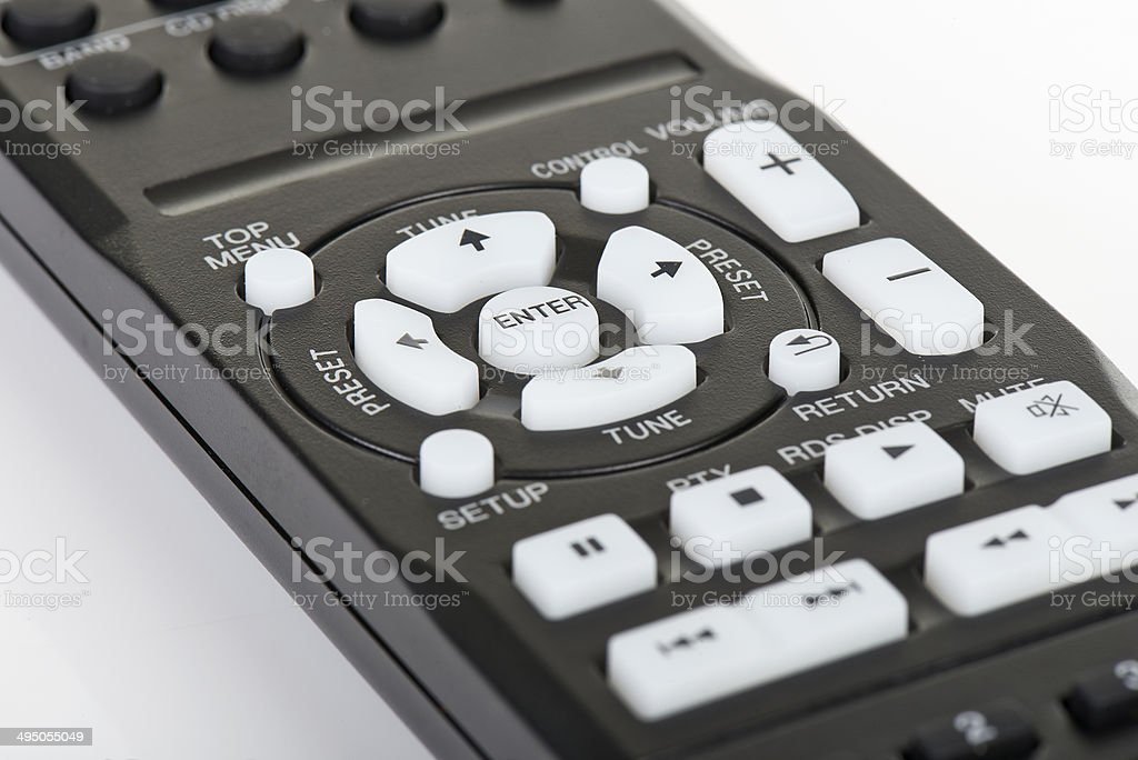 Remote control keypad black in closeup on white isolated royalty-free stock photo