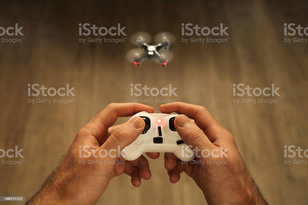 Remote control quadcopter stock photo