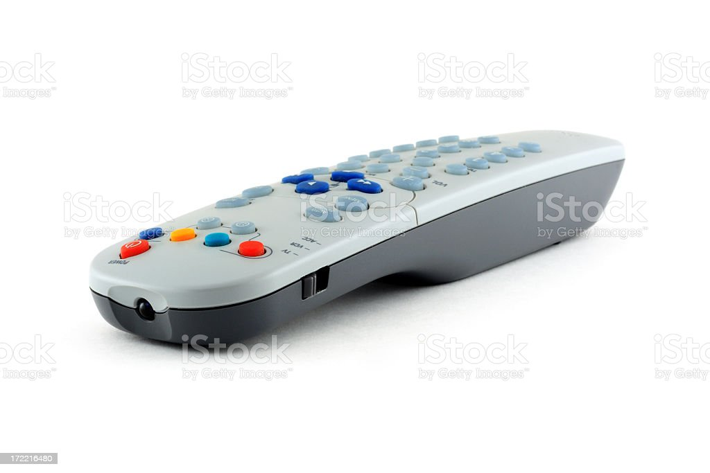 A remote control situated against a white background stock photo