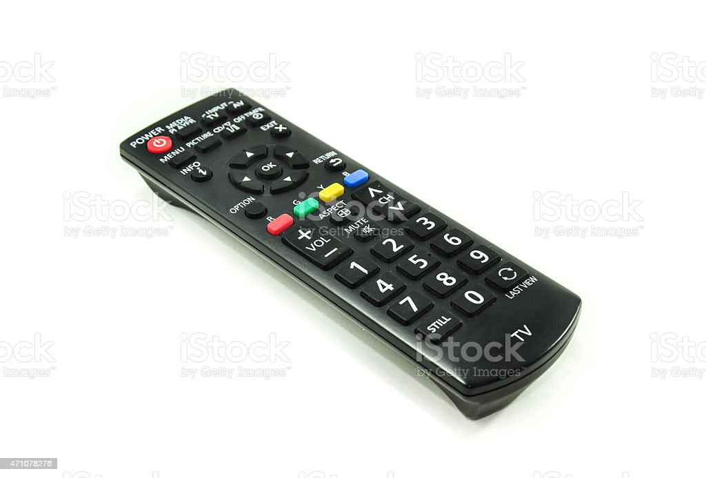 Remote control television isolated on white background. stock photo
