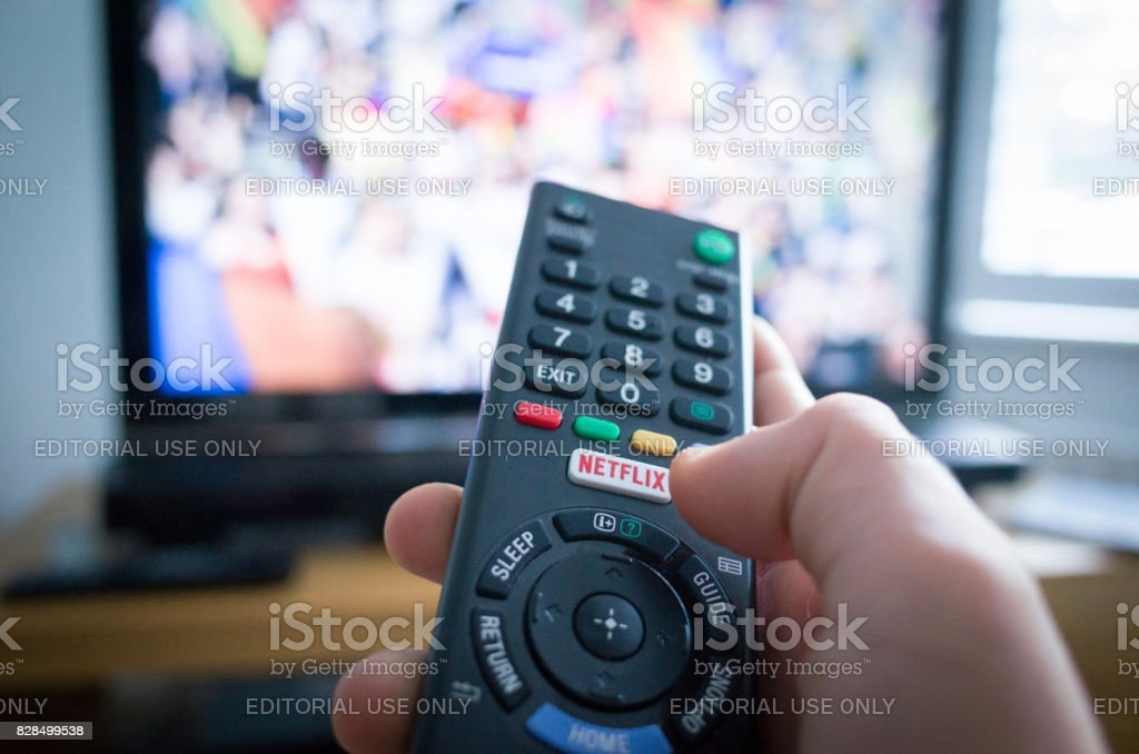 TV Remote Control with Netflix Button stock photo
