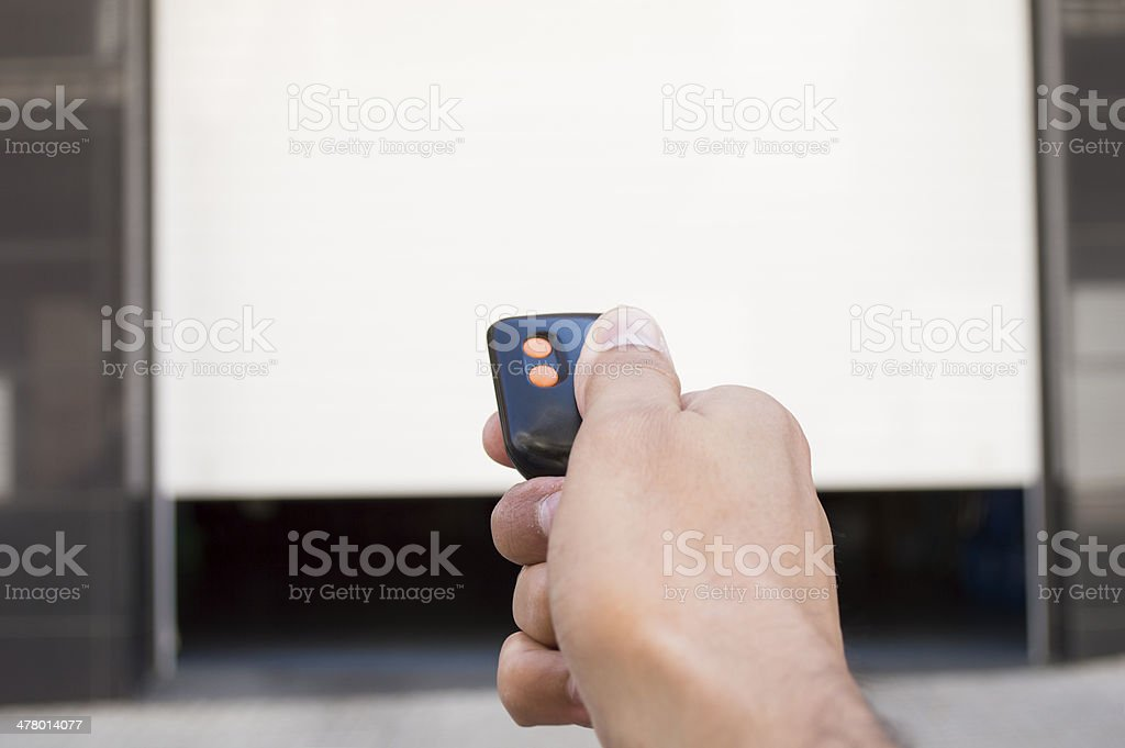 remote control with the door open stock photo