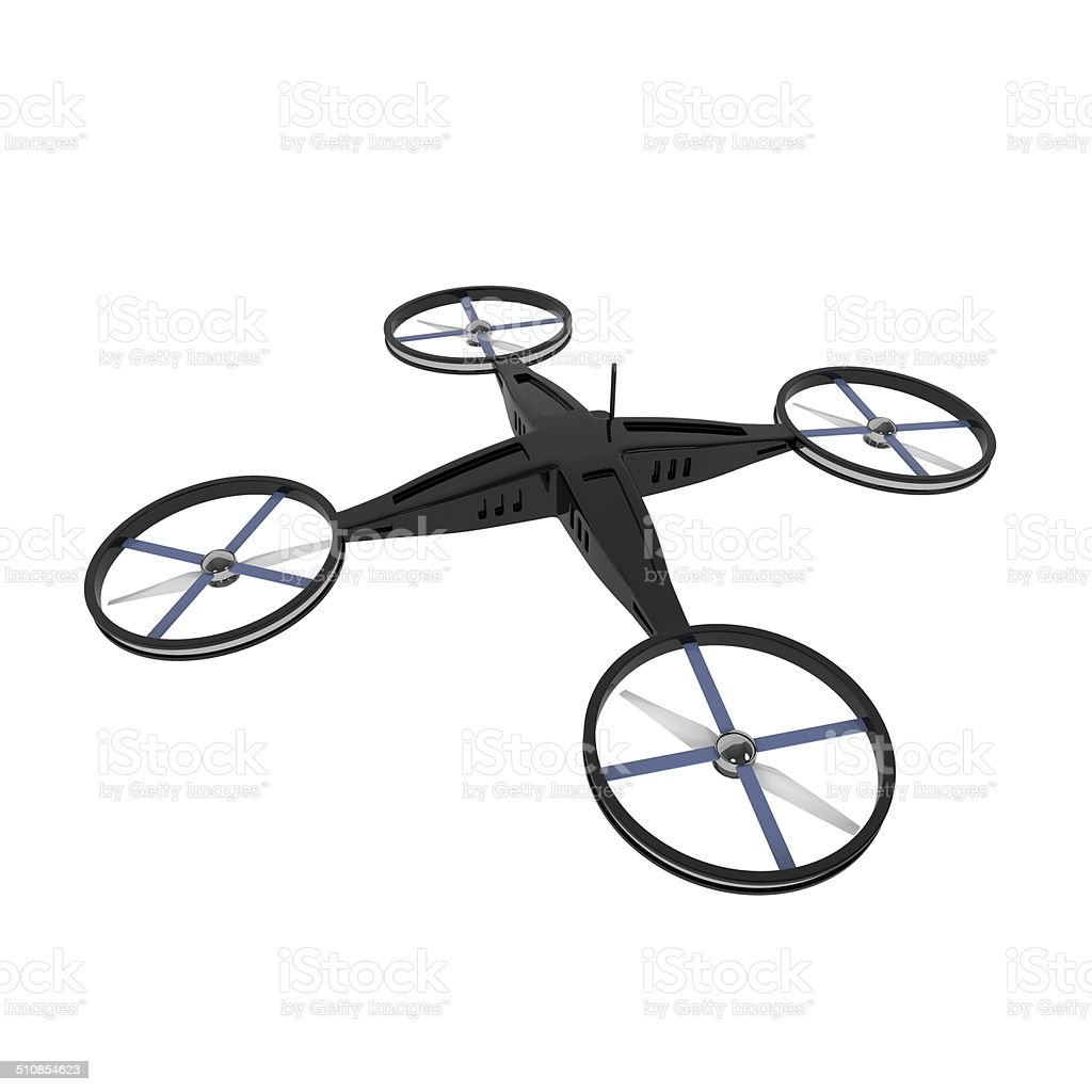 Remote Controlled Quadcopter Drone isolated on white stock photo