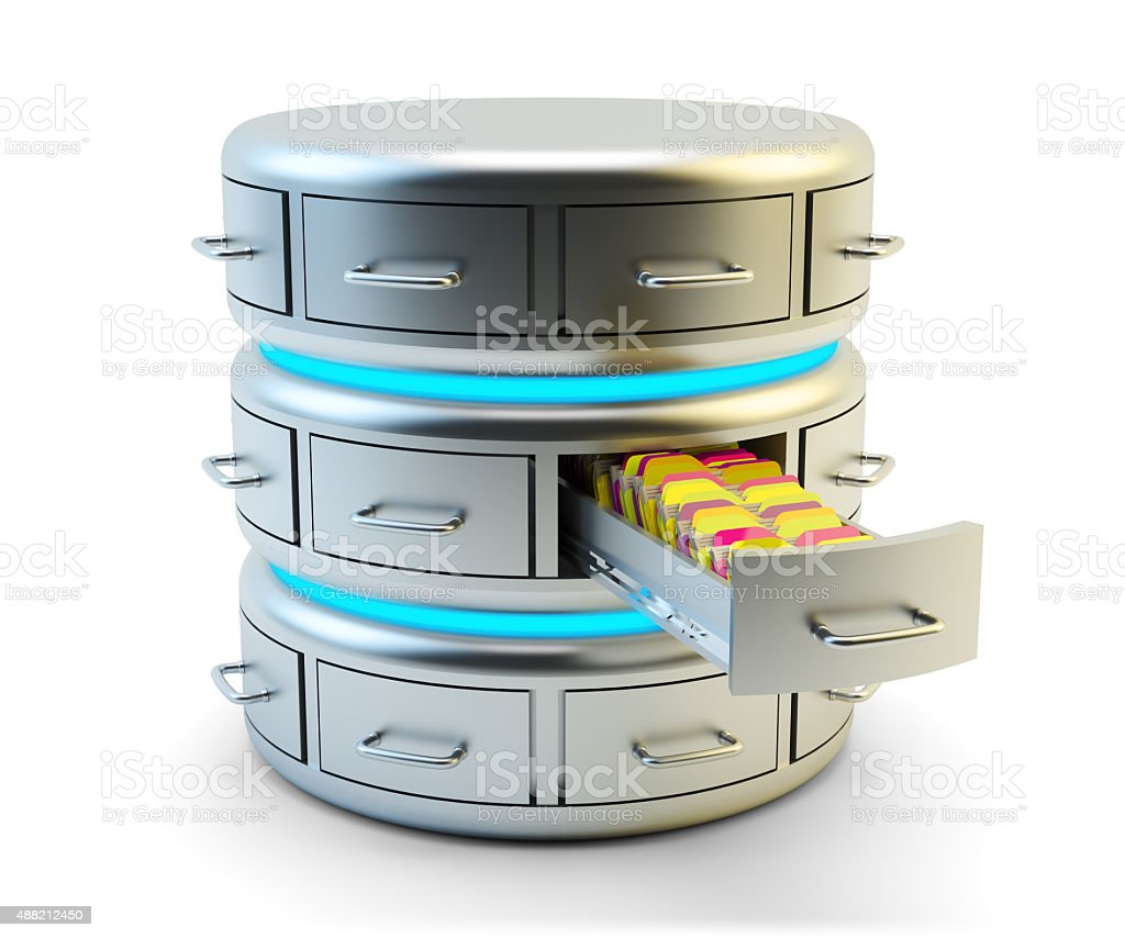 Remote data storage, cloud computing service and network server concept stock photo