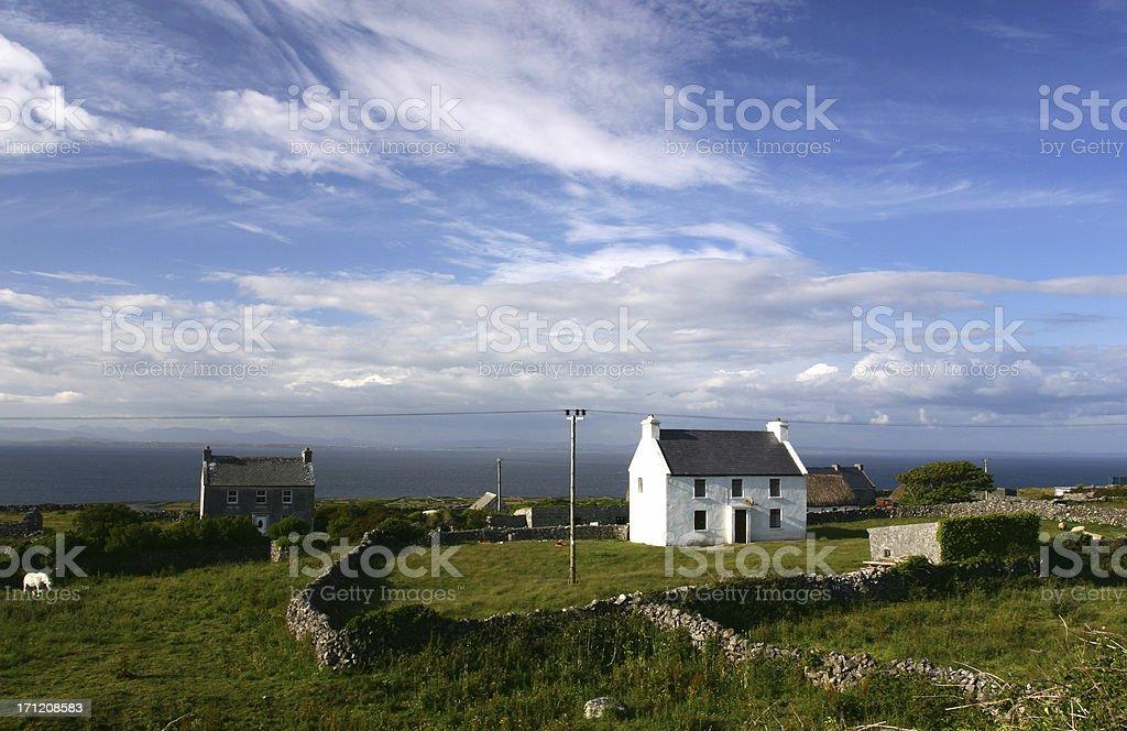 Remote farmhouse Aran islands Southern Ireland stock photo