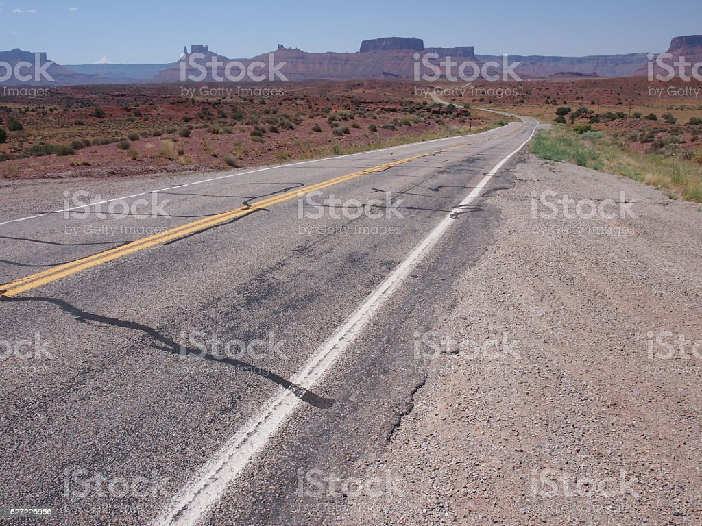 Remote highway leading into the distance stock photo