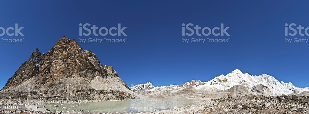 Remote Himalaya wilderness glaciers snow mountain summits panorama Solukhumbu Nepal stock photo