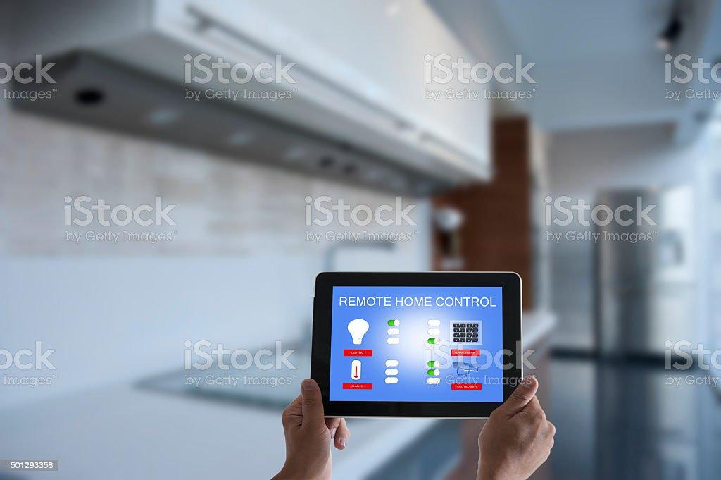 Remote home control stock photo