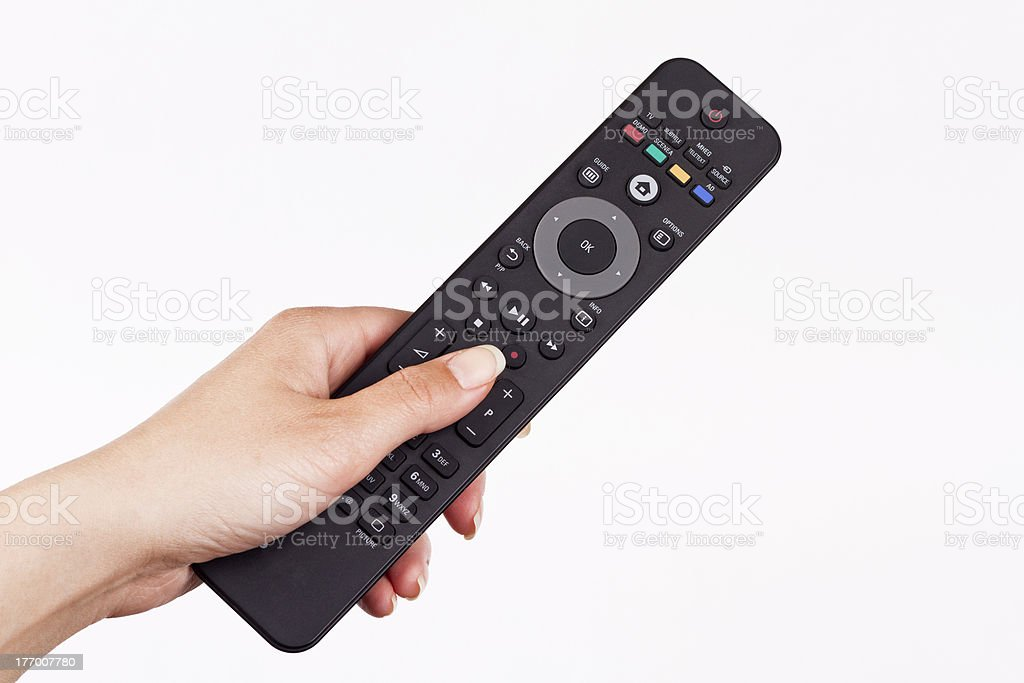 remote in hand stock photo