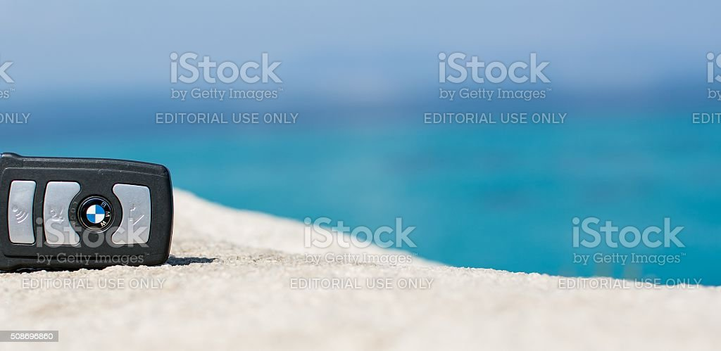 BMW remote key from on the beach stock photo