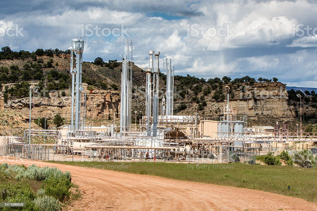 Remote Natural Gas Collection Station in Colorado stock photo