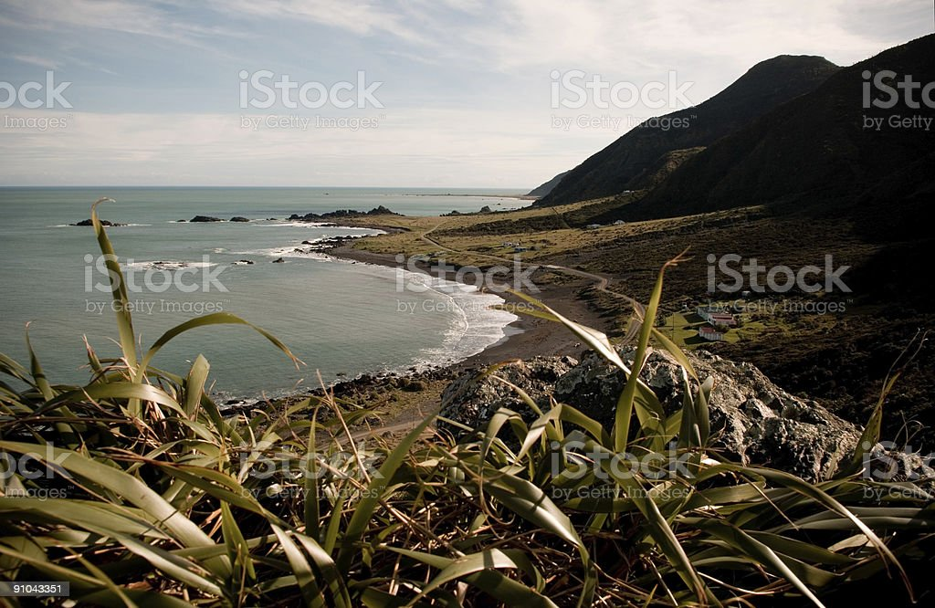 Remote New Zealand South Coast Landscape stock photo