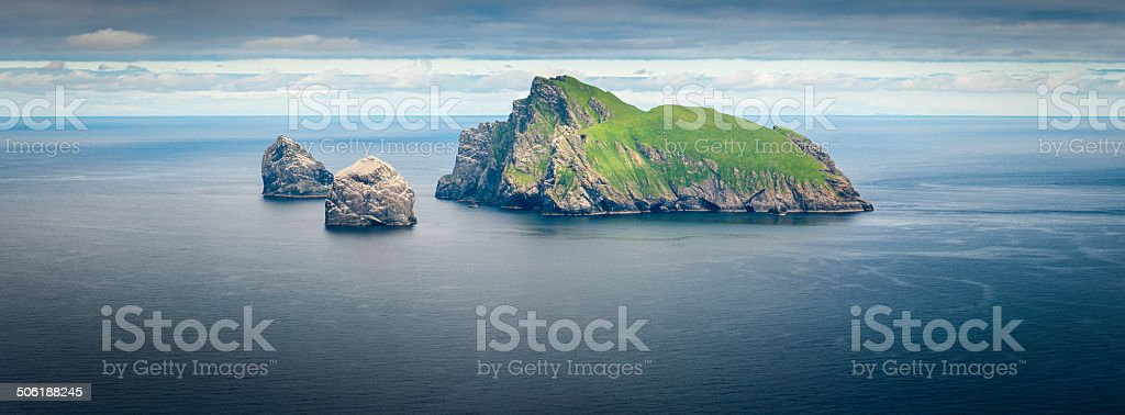 Remote ocean island dramatic seabird cliffs panorama St Kilda Scotland stock photo