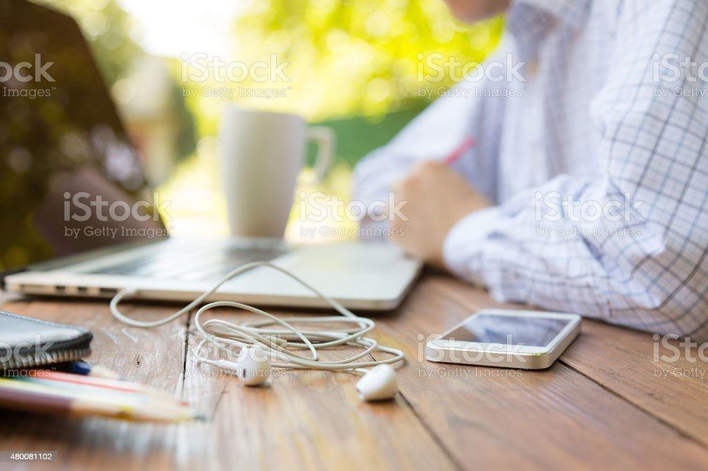 Remote office concept stock photo